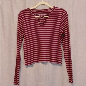Hollister Striped Long Sleeves Top